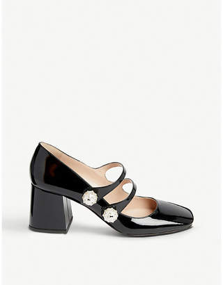 4a7864000e25 Miu Miu Faux-pearl and crystal-embellished patent leather Mary Jane pumps
