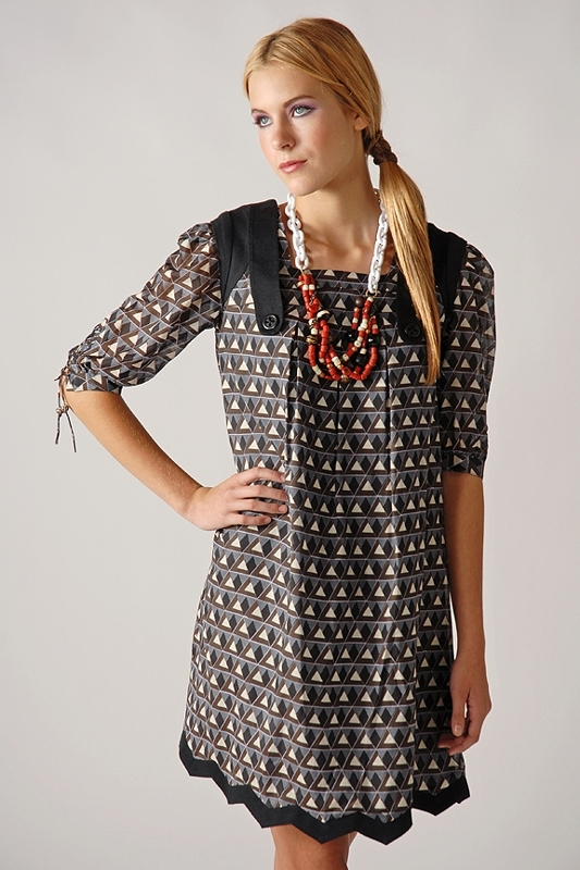 Twinkle by Wenlan White Rabbit Zig Zag Dress