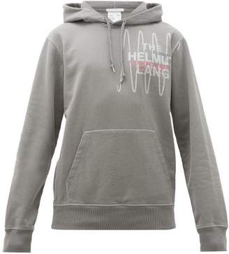 Helmut Lang Logo Embroidered Cotton Hooded Sweatshirt - Mens - Grey