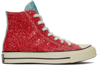 J.W.Anderson Red and Yellow Converse Edition Glitter Chuck 70 High Sneakers