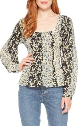 Parker Dara Floral Smocked Silk Blend Blouse