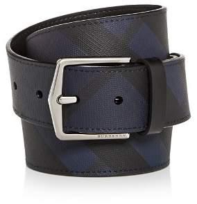 Burberry Joe London Check Coated Leather Belt