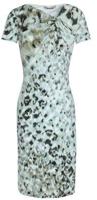 Roberto Cavalli Gathered Printed Stretch-Jersey Dress