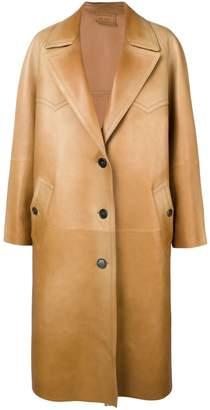 Prada long leather coat