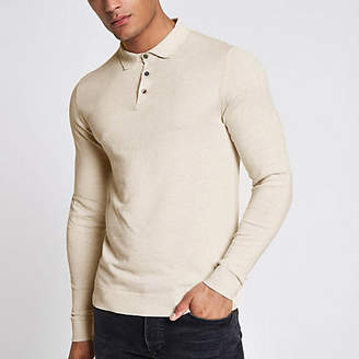 River Island Jack and Jones Premium beige knitted polo shirt