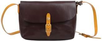 EAZO - Slim Leather Satchel Bag In Dark Brown