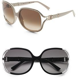 Fendi Oversized Leather Trim Sunglasses