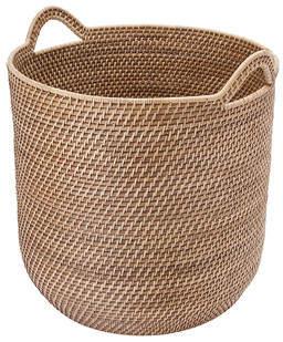 Beachcrest Home Round Rattan Storage Basket with Ear Handles