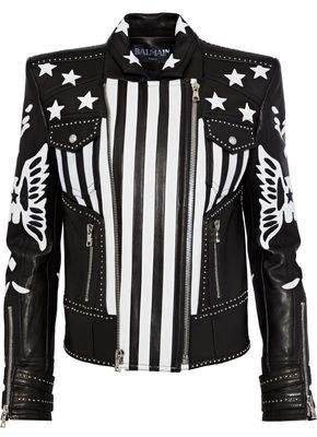 Balmain Appliquéd Leather Biker Jacket