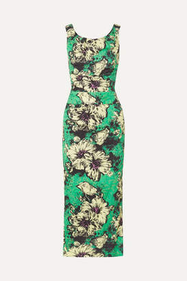 Miu Miu Ruched Floral-print Silk-blend Cloqué Midi Dress - Green
