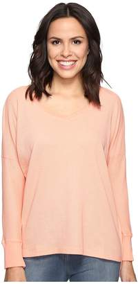 Allen Allen Long Sleeve Drop Shoulder High-Low V-Neck Women's Long Sleeve Pullover
