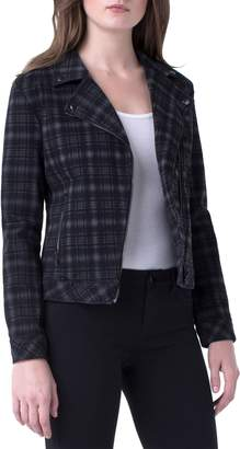 Liverpool Plaid Cotton Blend Moto Jacket