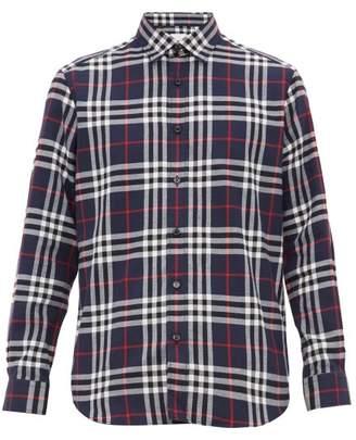 Burberry Vintage Check Cotton Flannel Shirt - Mens - Navy Multi