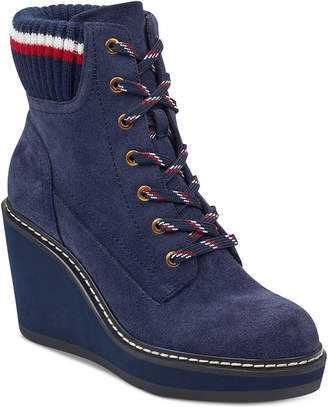 Tommy Hilfiger Solenne Lace-Up Platform Wedge Booties Women's Shoes
