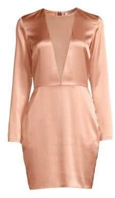 Fleur Du Mal Silk Sheer Plunge Mini Dress