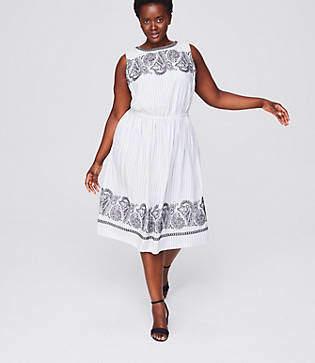LOFT Plus Embroidered Stripe Midi Dress
