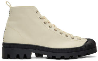 Loewe Off-White and Black Canvas Lace-Up Boots