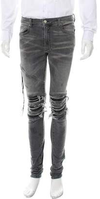 Amiri Leather-Trimmed Distressed Jeans w/ Tags