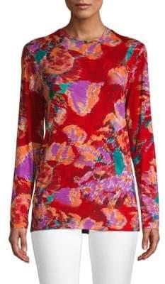 Prabal Gurung Floral Jersey Long Sleeve Top