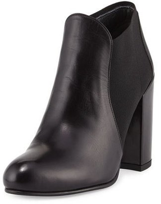 Stuart Weitzman Slipup Leather Chunky-Heel Bootie, Nero $465 thestylecure.com