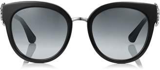 Jimmy Choo JADE Black and Palladium Oversized Sunglasses with Clip On Earrings