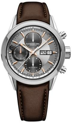 Raymond Weil Freelancer Chronograph Automatic Leather Strap Watch, 42mm