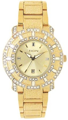 Elgin Men's Crystal Accented Champagne Dial Date Watch, Gold