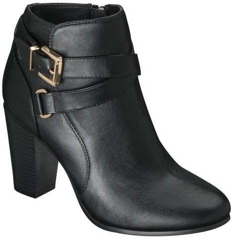 Women's Merona® Kailey Ankle Boot with Buckles - Black