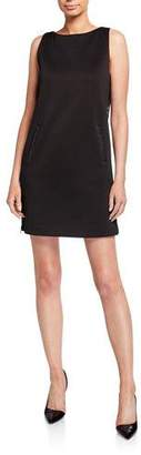 Emporio Armani Sleeveless Jersey Shift Dress w/ Leather Trim & Side Zip Panel