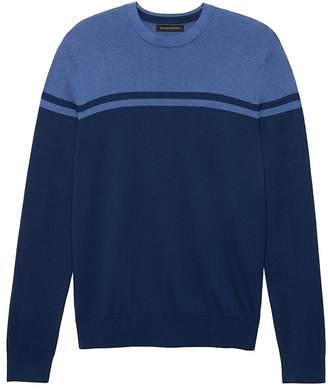 Banana Republic Silk Cotton Cashmere Color-Blocked Crew-Neck Sweater
