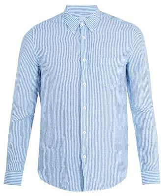 120% Lino Patch Pocket Striped Linen Shirt - Mens - Blue Multi