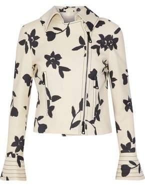 Carolina Herrera Floral-Print Wool-Twill Biker Jacket