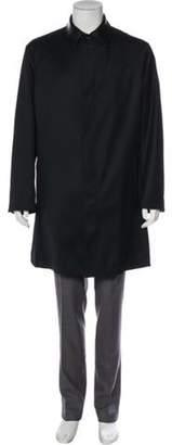 Versace Leather-Trimmed Wool Car Coat black Leather-Trimmed Wool Car Coat