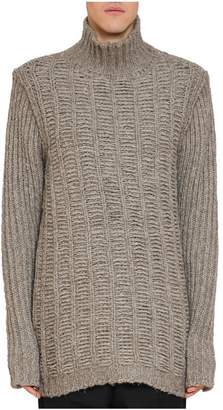 Rick Owens Intarsia Turtleneck Wool Sweater