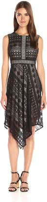London Times Women's Geo Diamond Stripe Asymetrical Hem Dress with Contrast Lining, Black/Nude