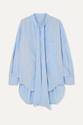 Balenciaga Oversized Printed Striped Cotton-poplin Shirt - Blue