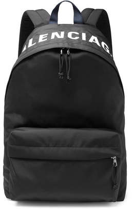 Balenciaga Logo-Embroidered Canvas Backpack - Black