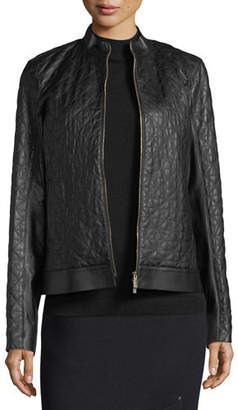 Lafayette 148 New York Becks Quilted Leather Moto Jacket $998 thestylecure.com
