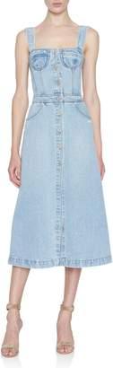 Off-White Off White Bleached-Denim Corset Bodice Dress