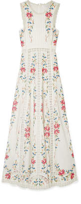 Zimmermann Laelia Lace-paneled Embroidered Linen-blend Maxi Dress - Ivory
