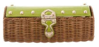 MICHAEL Michael Kors Leather-Trimmed Wicker Clutch