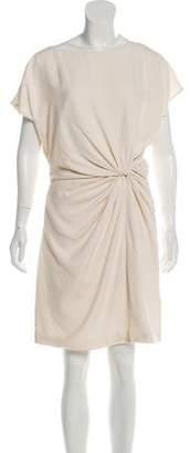 Halston Short Sleeve Silk Dress