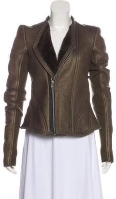 Rick Owens Collarless Shearling Jacket