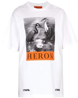 Heron Preston Oversized Printed Cotton T Shirt - Mens - White