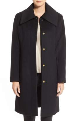 Cole Haan Single Breasted Wool Blend Coat