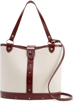 The Row Leather-trimmed Canvas Bucket Bag - Off-white