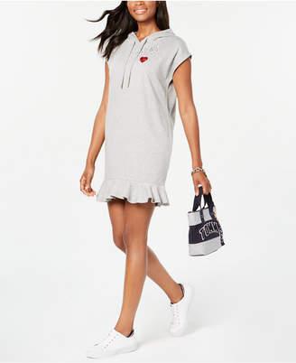 Tommy Hilfiger Ruffle-Hem Hoodie Sweatshirt Dress