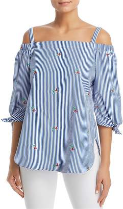 Status by Chenault Embroidered Stripe Cold-Shoulder Top - 100% Exclusive