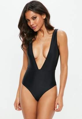 Missguided Black Deep Plunge Tie Back Swimsuit