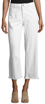DL 1961 Hepburn High-Rise Cropped Wide-Leg Jeans, Eggshell $198 thestylecure.com